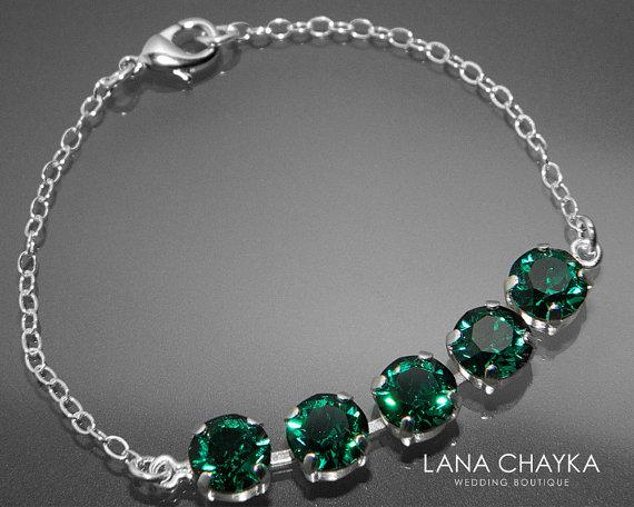 Emerald Crystal Bracelet Swarovski Emerald Sterling Silver Bracelet Green  Wedding Bracelet Bridesmaid Emerald Jewelry Swarovski Bracelet e09f2fbdb0