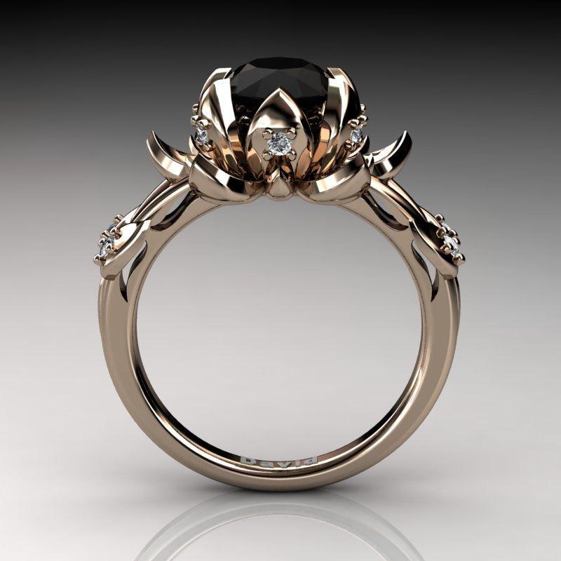 Nature Inspired 14k Rose Gold 20 Carat Oval Black Diamond White