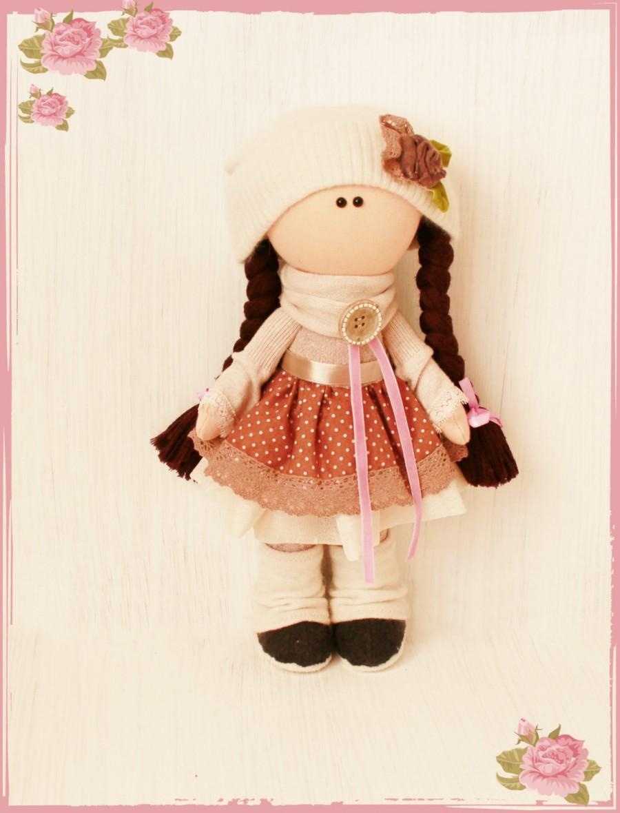 Свадьба - Rag dolls handmade OOAK art dolls Collection toy doll Vic Brown hair handmade doll doll doll Cloth Interior decoration doll souvenir dolls