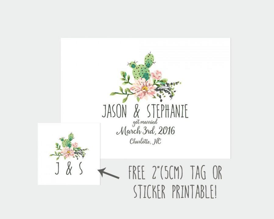 Elopement Announcement We Eloped Got Married Diy Wedding Cactus Printable Hitched Secret Simple Dp99