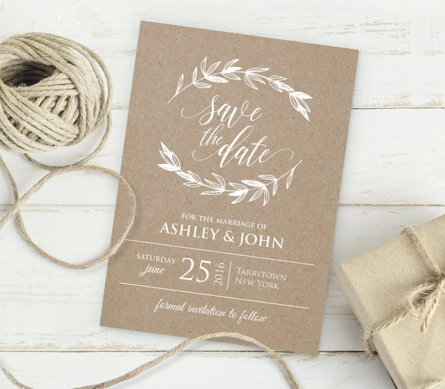 kraft save the date template instant download editable text diy