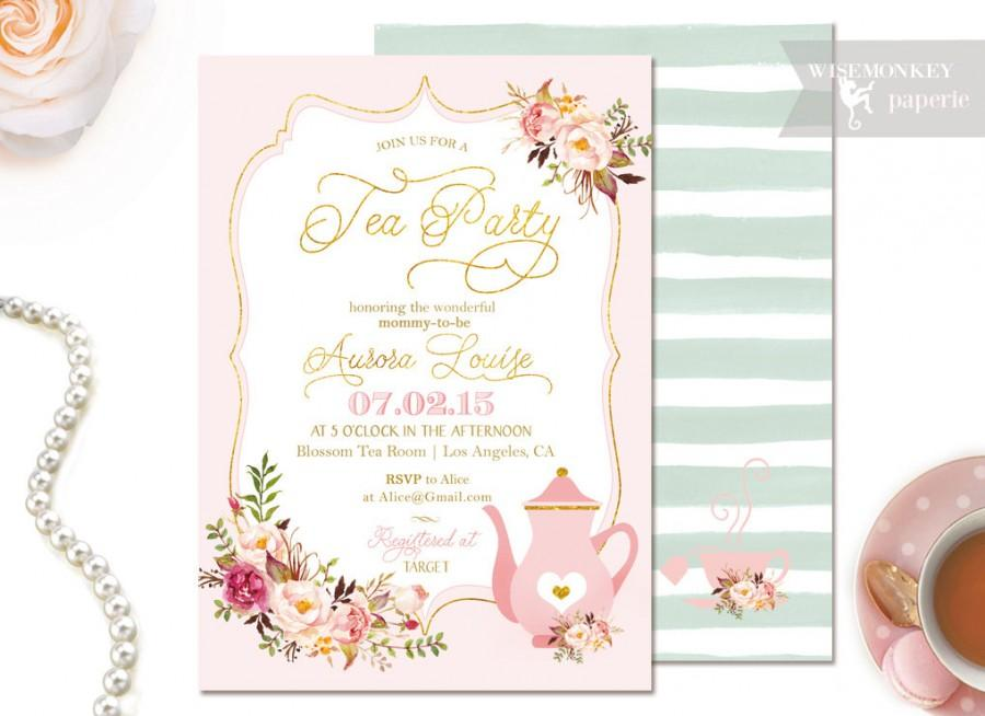 tea party baby shower invitation tea party gold foil boy or girl blue blush printable diy
