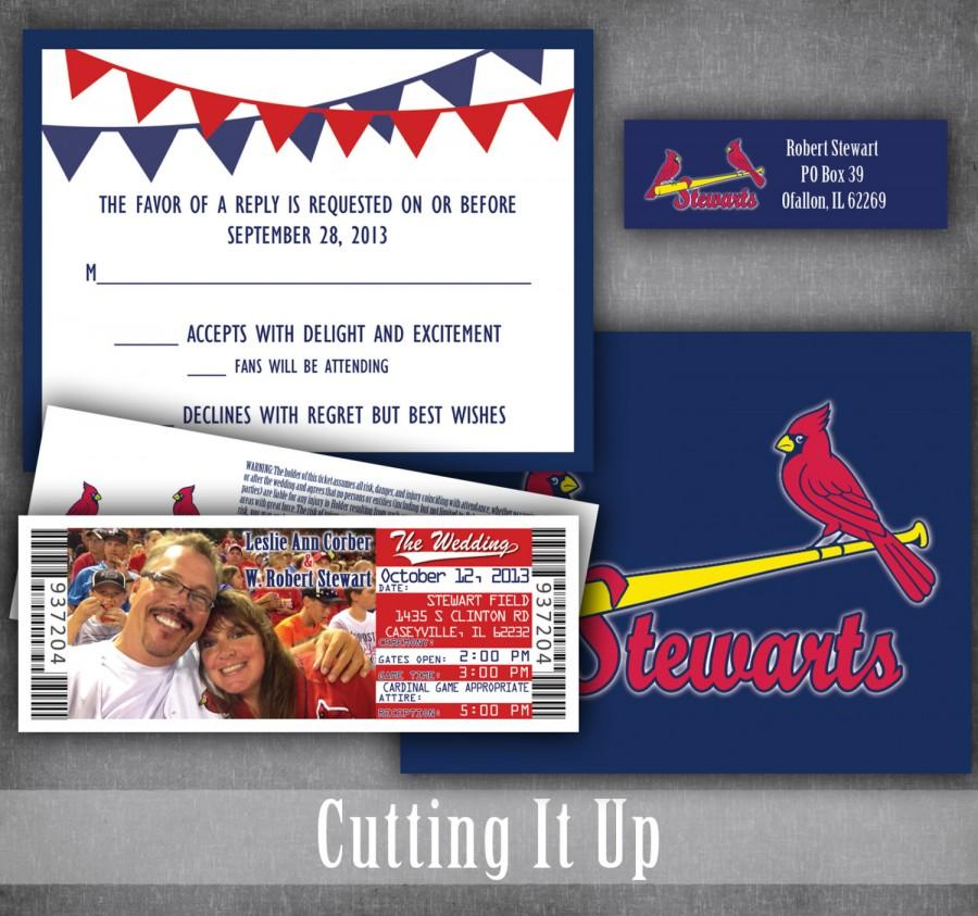 Baseball Wedding Invitation Set Sports Invitations Ticket With Rsvp Football Basketball Softball