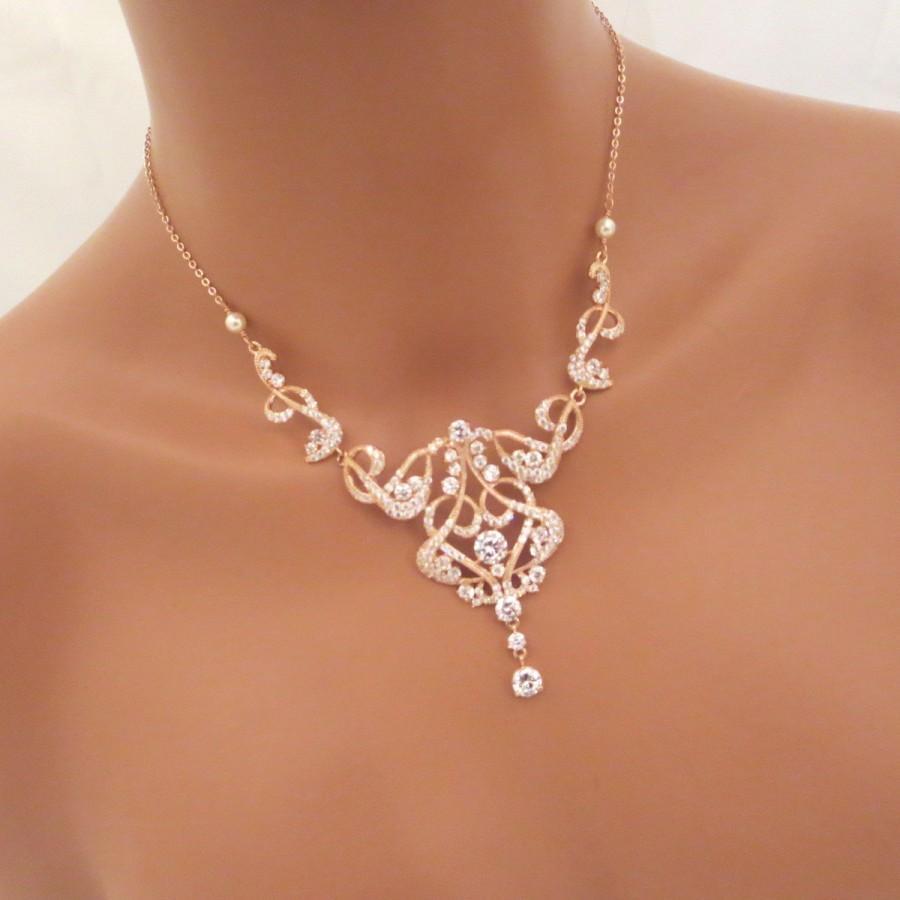 Rose Gold Bridal Necklace, Rose Gold Statement Necklace, Crystal ...