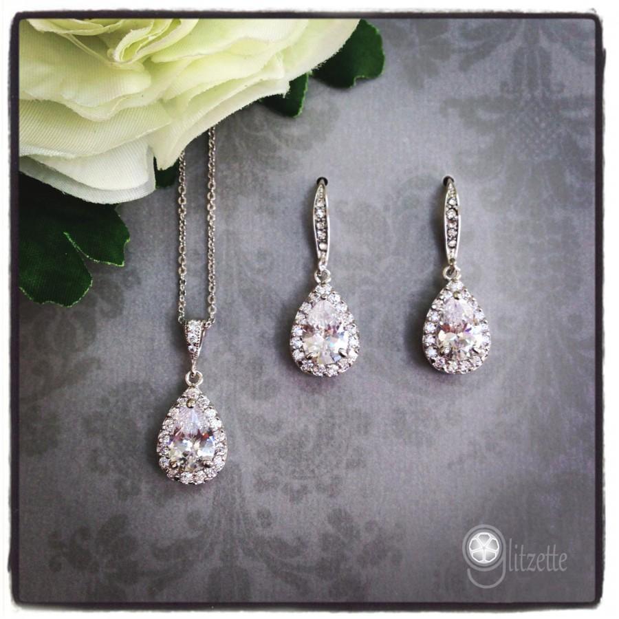 زفاف - Bridesmaid Jewelry Set, Simple Bridal Jewelry Set, Bridesmaid Earrings Crystal, Bridesmaid Jewelry Crystal, Bridesmaid Gift, Bridal Jewelry