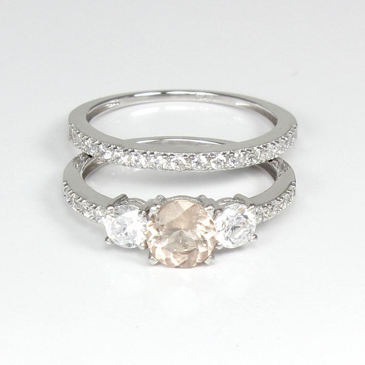 Mariage - Natural Morganite and Diamonds Engagement Ring Set Sterling Silver / Engagement Ring Silver