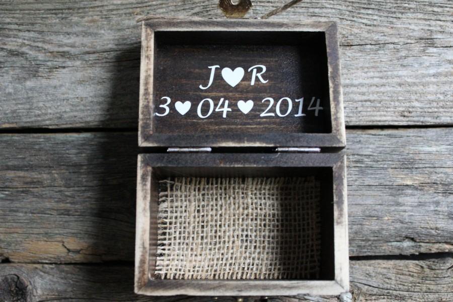 زفاف - Rustic Ring Bearer Box, Personalized Ring Box, Custom Wooden Box