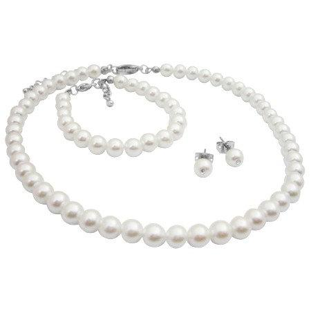 Baptism Pearl Necklace White Jewelry Set Pearls Stud Earrings Bracelet Flower Gift Free Shipping In Usa
