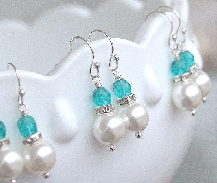 Mariage - SALE Bridesmaid Earrings - Pearl Dangle Earrings in Silver - Malibu Turquoise Teal Blue Bridesmaid - Beach Wedding