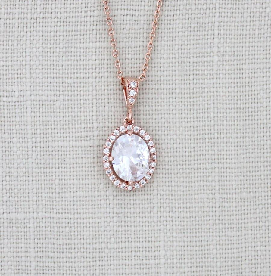 Mariage - Rose Gold Bridal necklace, Rose Gold solitaire necklace, Wedding jewelry, Oval solitaire necklace, Crystal necklace, Simple Wedding necklace