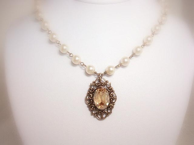Mariage - Pearl Wedding necklace, Vintage style necklace, Wedding jewelry, Crystal Bridal necklace, Filigree necklace, Golden shadow, pendant necklace