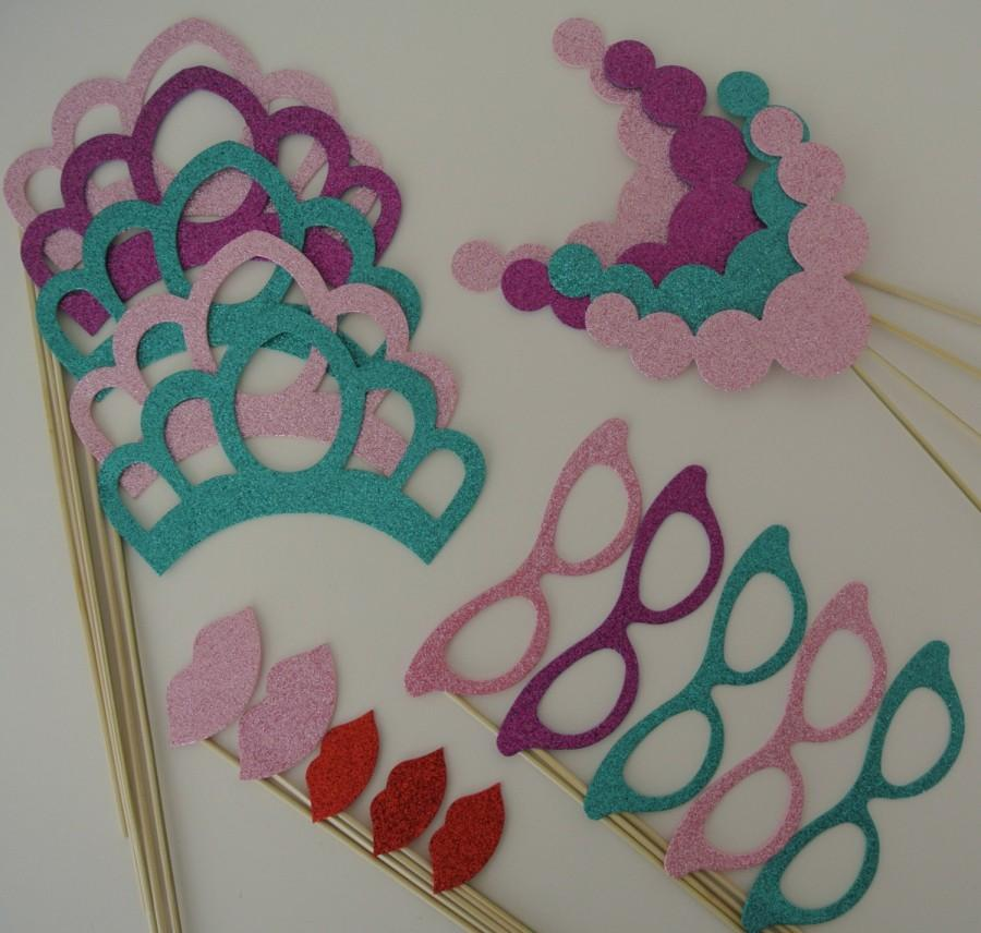 Свадьба - Princess Party Props Mustache on a Stick Wedding Photo Booth Party Props Special Events Tiarra Vintage Glasses Necklace girls birthday party