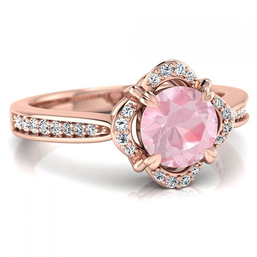 1ct Round Morganite Floral Vintage Halo Engagement 14K Rose Gold