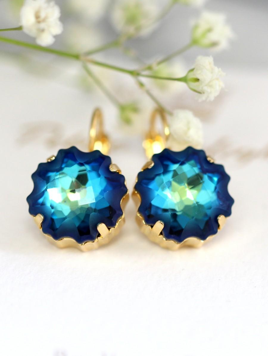 Wedding - Blue Drop Earrings, Bridal Blue Navy Earrings, Swarovski Bermuda Earrings, Bridesmaids Capri Blue Earrings, Bridal Something Blue,Blue Studs