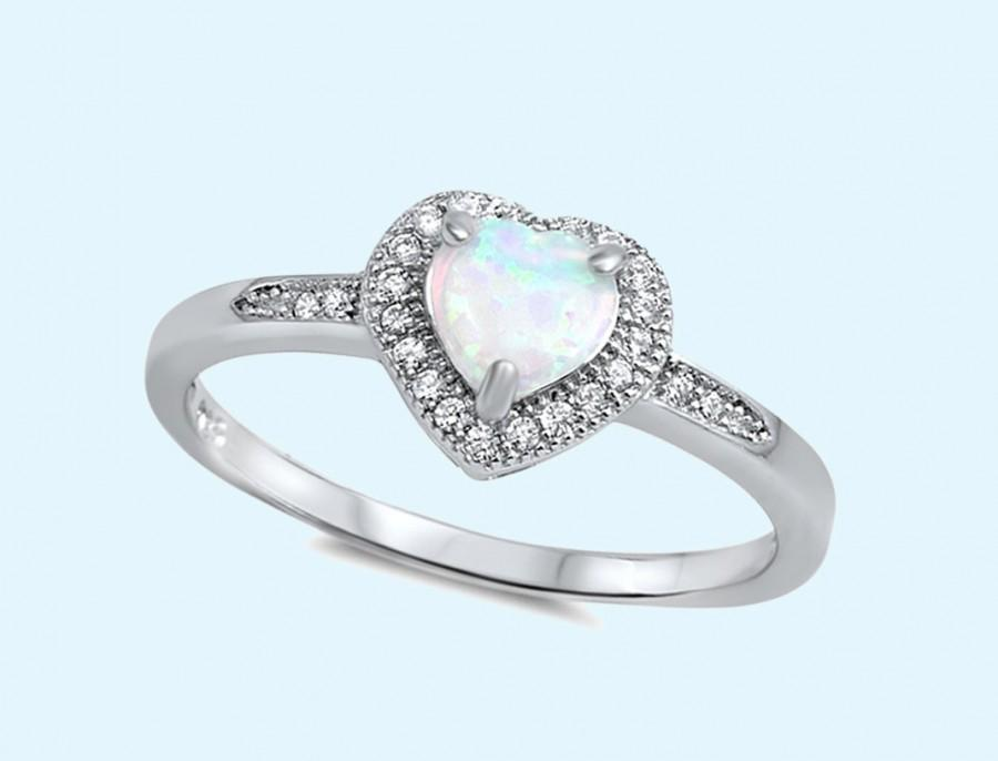 Wedding - White Opal heart shaped stone micro pave sterling silver promise ring, heart engagement ring, 925 silver opal heart ring ring size 4-12