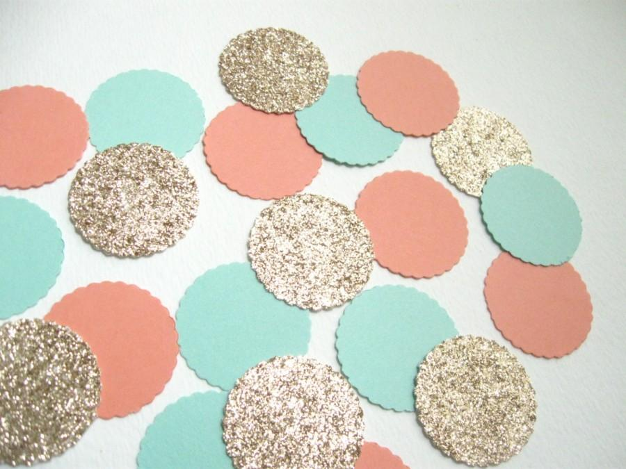 Hochzeit - Mint, Lt.Coral, Champagne Glitter Confetti- 100 pieces - Party/Showers/Weddings/Holidays/Table Decor/Event Decorations