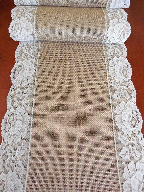 Mariage - Burlap Table Runner Wedding Table Runner Rustic Wedding Table Decor Bridal Shower Party