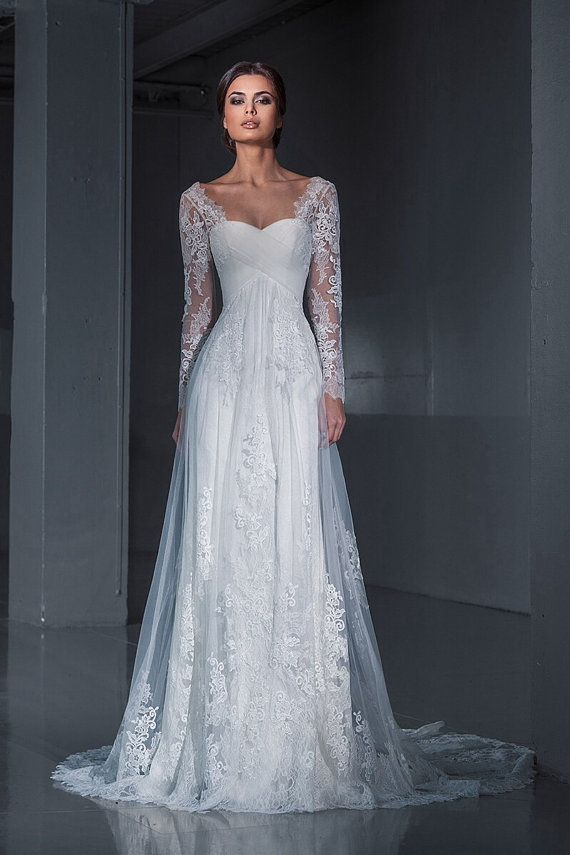Lace wedding dress wedding dress long sleeves wedding for Modern vintage lace wedding dress