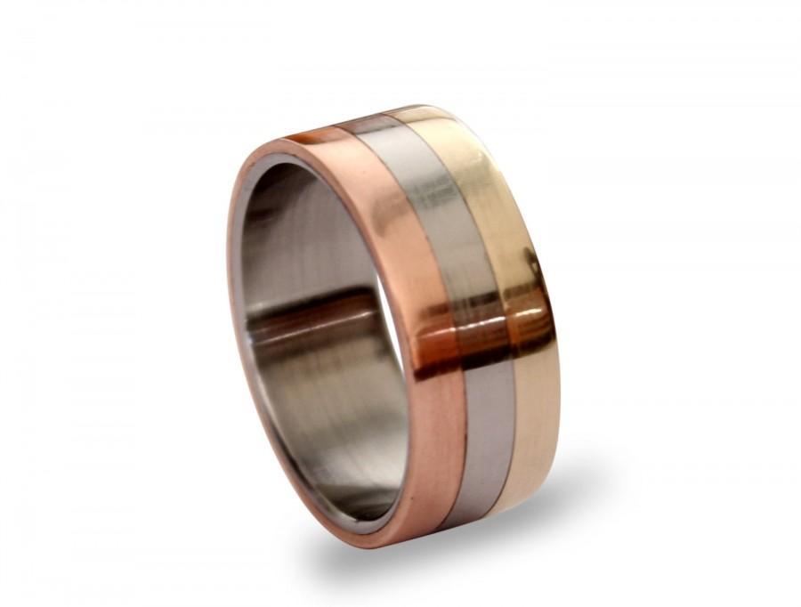 Свадьба - Titanium men ring with bronze and copper inlay