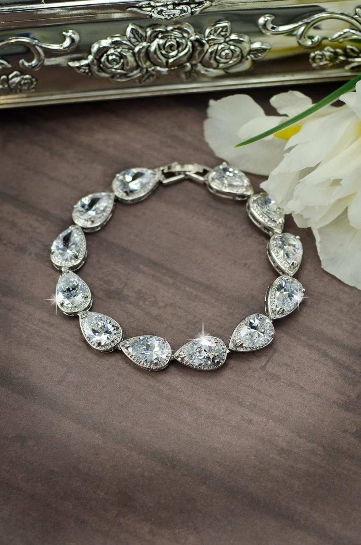 Hochzeit - gold cubic zirconia bracelet,gold  bridal bracelet, wedding bracelet, cz bracelet, crystal bracelet, cz wedding set, gold silver bracelet
