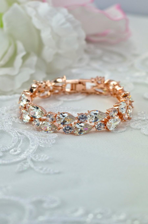 Свадьба - FREE SHIPPING, rose gold bridal bracelet, rose gold cuff bracelet, rose gold bridal jewelry, cubic zirconia bracelet, wedding cz bracelet