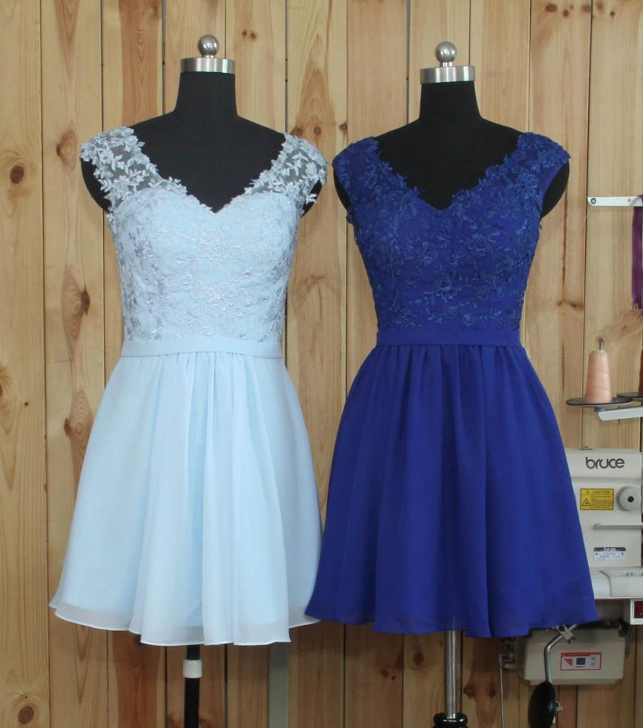 Wedding - 2016 Blue Bridesmaid dress, Lace Chiffon Short Wedding dress, Formal dress, V Neck Blackless Party dress, Prom dress knee length