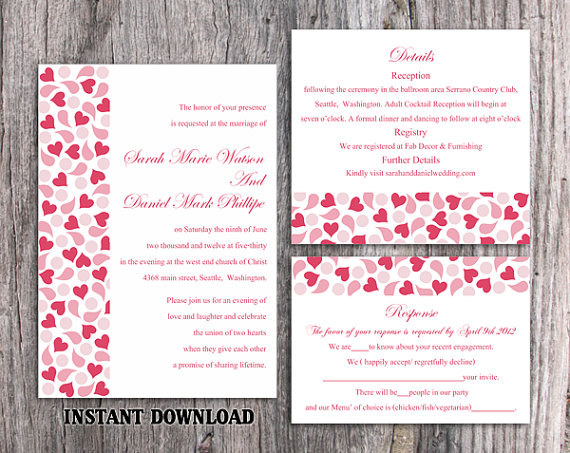 زفاف - DIY Wedding Invitation Template Set Editable Word File Instant Download Red Wedding Invitation Heart Invitation Printable Pink Invitation
