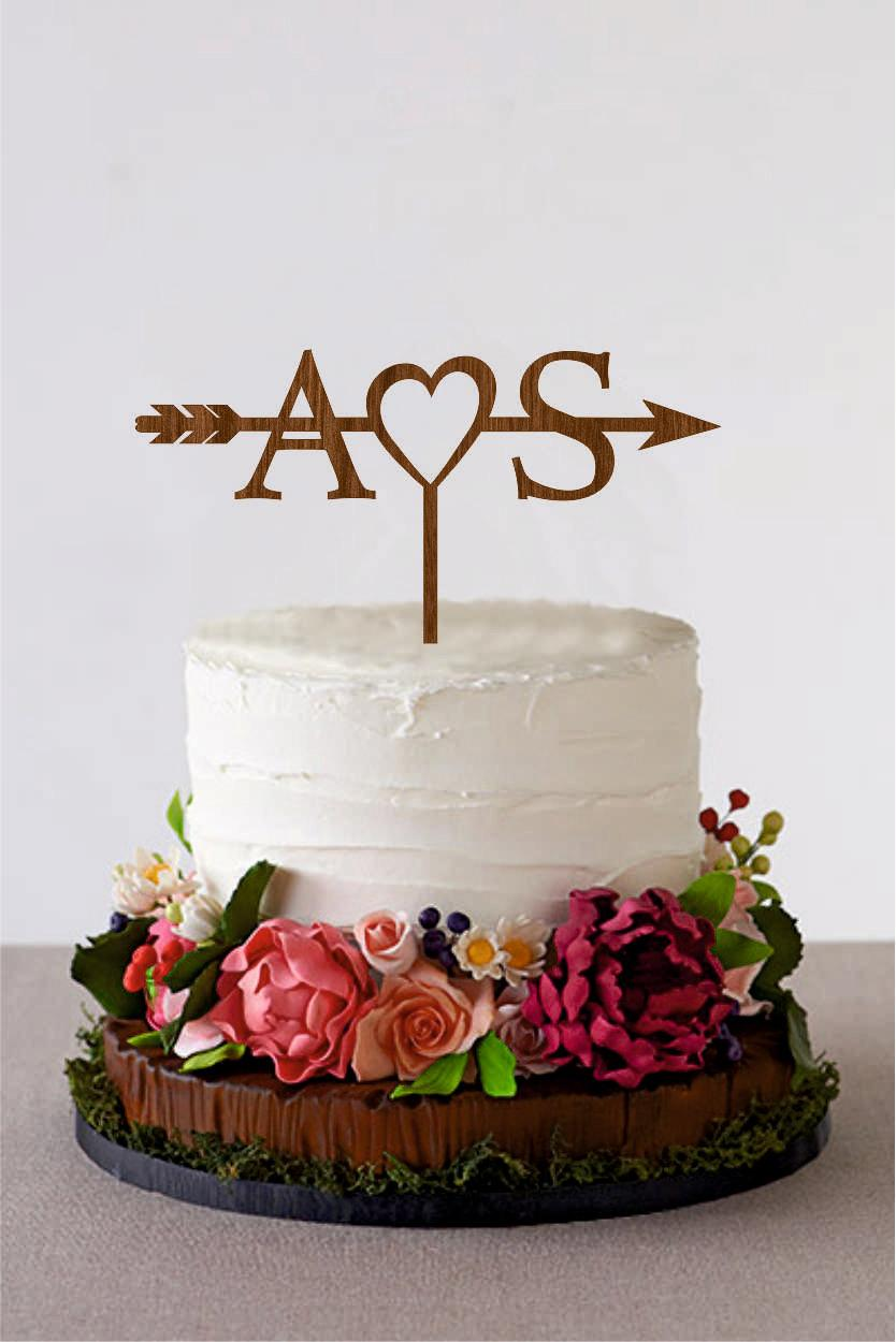 Arrow Cake Topper With Initials Wedding Personalized Bridal Shower Rustic