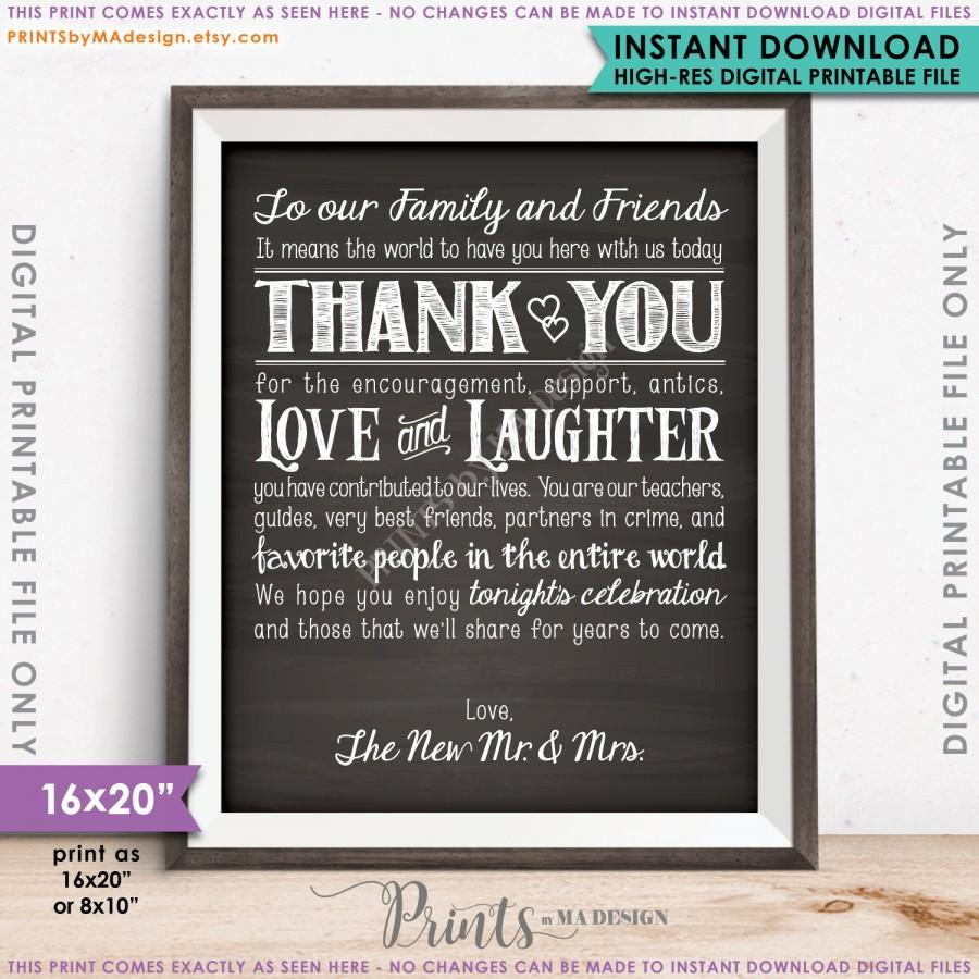 "Свадьба - Wedding Thank You Sign, Thanks Chalkboard Wedding Poster, Thank family & friends, 16x20"" or 8x10"" Instant Download Digital Printable File"
