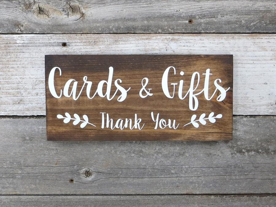 "Свадьба - Rustic Hand Painted Wood Wedding Sign ""Cards & Gifts - Thank You"" - Wedding Decoration"
