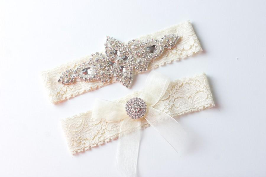 Mariage - Wedding Garter / Rhinestone Garter / Crystal Garter / Ivory Garter  / Bridal Garter