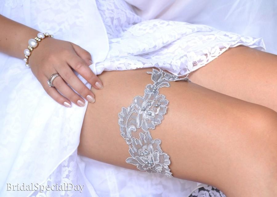 Mariage - Wedding Garter, Garter Set, Lace Garter Set, Grey Garter, Wedding Garters, Bridal Garter, Grey Lace Garter, Handmade Garter, Garter, Garter