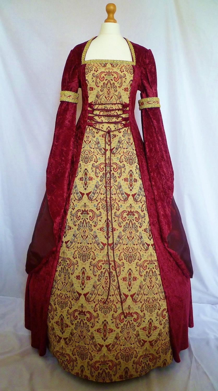 Medieval Dress Pagan Gown Gothic Costume Red Velvet Fantasy Dress ...