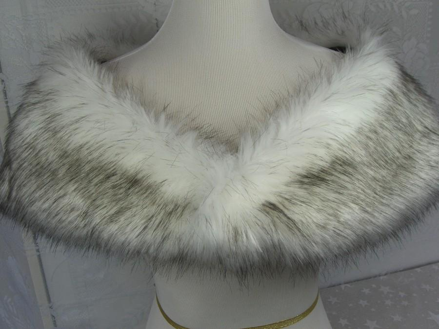 زفاف - Faux Fur Shrug, Medium White/Black Husky Faux Fur Shawl, Fur Stole, Wedding Shoulder Wrap