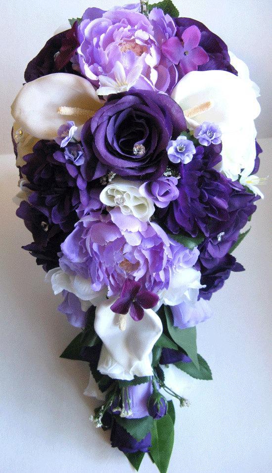 Wedding Bouquet Flowers Bridal Silk 17 Piece Package Purple Burlap