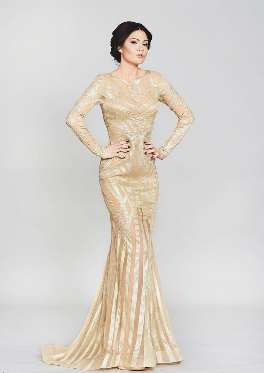 Gold Couture Dress For Red Carpet Long Prom Dress In Gold