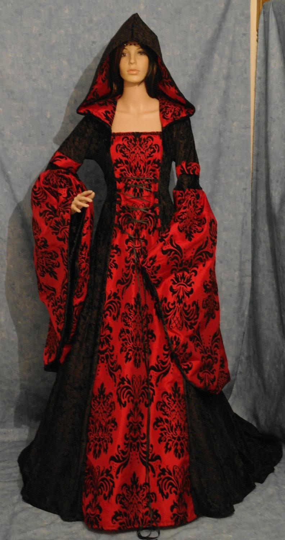 medieval dress renaissance dress vampire dress halloween wedding gown elven handfasting dress custom made - Halloween Wedding Gown