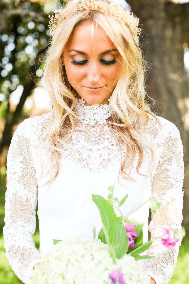 Fall Dried Flower Crown Babys Breath 2016 Wedding Trends Gypsophilia ...