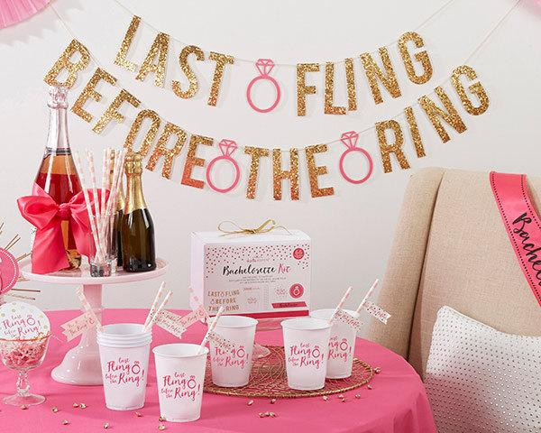 Mariage - Gold and Pink Bachelorette Party Kit Last Fling Before the Ring (66 Piece Kit)