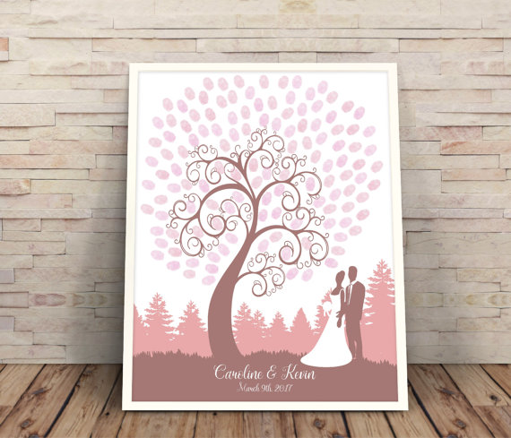 Fingerprint Tree Wedding Tree Wedding Guest Book Finger Print Tree ...