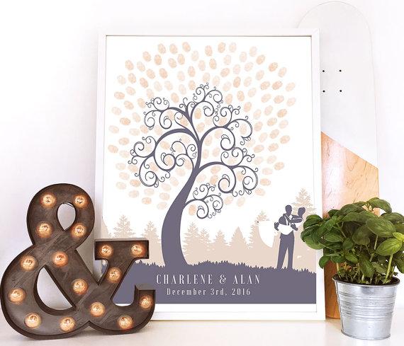 Wedding Guest Book Finger Print Tree Thumbprint Tree Fingerprint ...