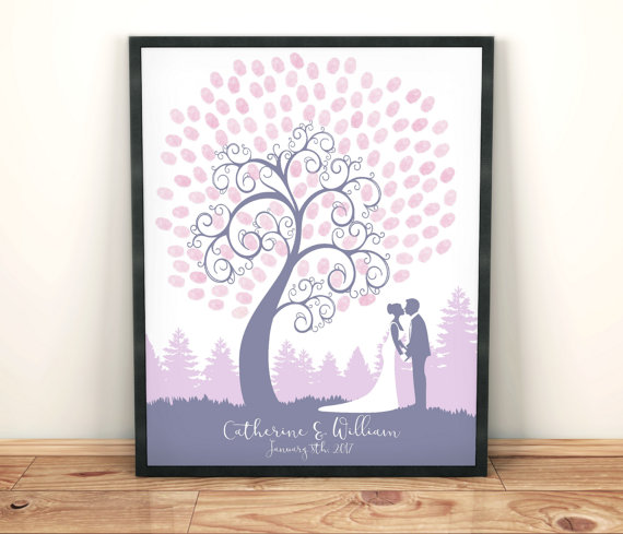 Wedding Guest Book Fingerprint Tree Wedding Tree Finger Print Tree