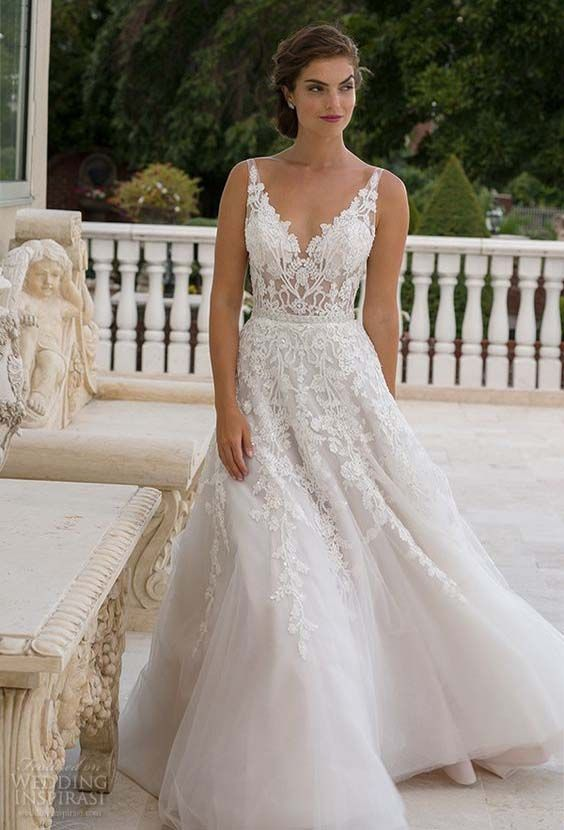 Bridal V Neckline Lace Embroidered Bodice Beautiful A Line Wedding