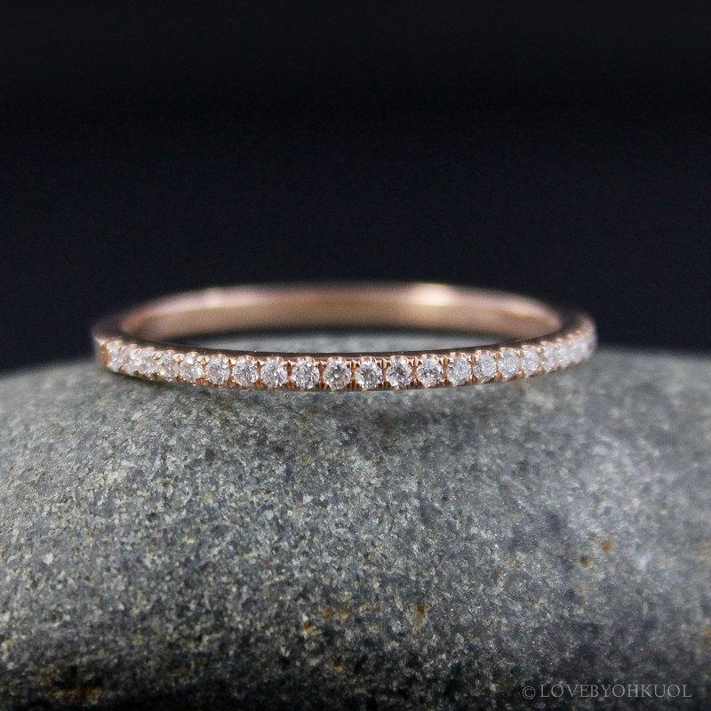 Rose Gold Micro Pave Enement Ring | Micro Pave Diamond Wedding Band 14kt Rose Gold Half Eternity