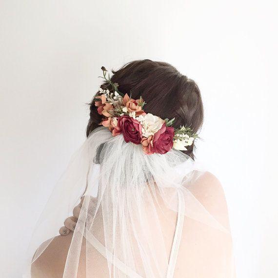 Hochzeit - Bridal Floral Comb- Bridal Headpiece- Flower Crown- Back Comb Flower Comb