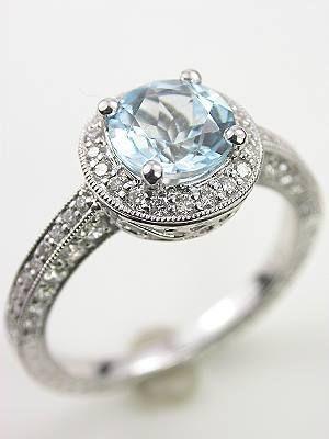 Mariage - Vintage Style Aquamarine Engagement Ring, RG-2955aa