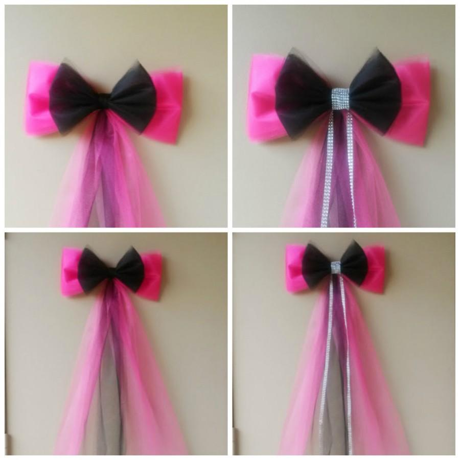 Свадьба - Pink and Black Birthday Party Decoration,  Sweet 16 Bow, Quinceanera Bow, Bridal Shower Bow, Wedding Pew Bow, Teen Birthday Decoration