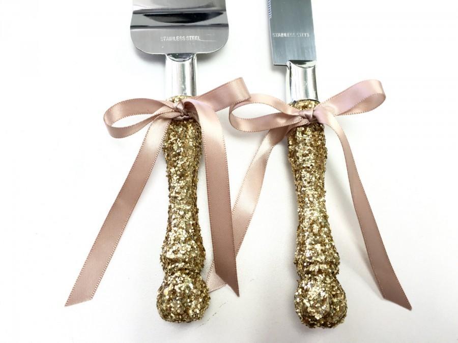 Cake Cutter Set FREE Shipping Blush Or Champagne Gold Glitter Wedding Server Knife