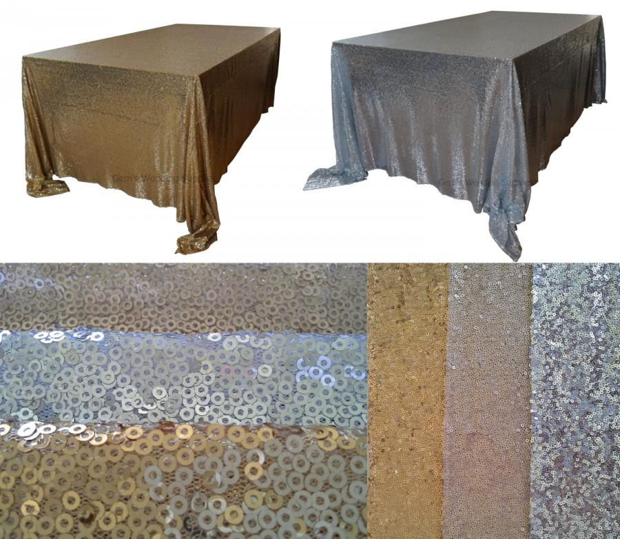 """Mariage - 6 foot 90""""x132"""" Gold Silver Sequin Table Cloth Wedding Sparkly Party Decoration, FREE POSTAGE Australia Wide"""
