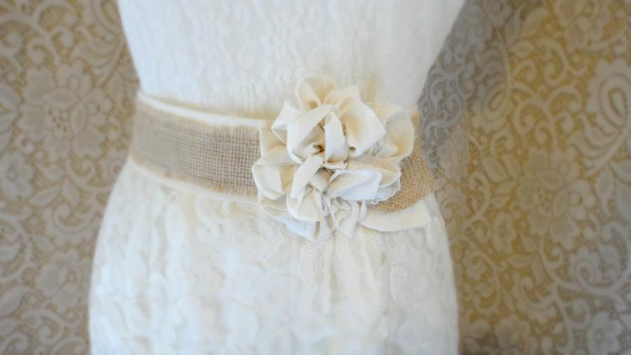 Wedding - Rustic Burlap Wedding Sash Southern Farmhouse Barn Wedding Ivory Tan Sash Bridesmaid Shabby Chic Burlap Sash Belt Rustic Bridal Belt